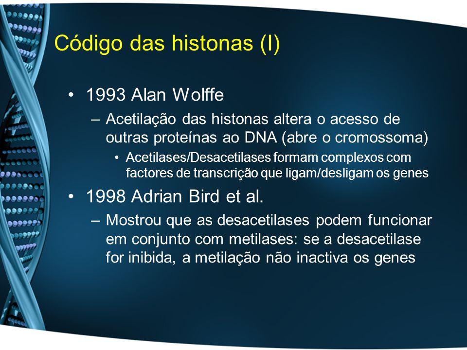 Código das histonas (I) 1993 Alan Wolffe –Acetilação das histonas altera o acesso de outras proteínas ao DNA (abre o cromossoma) Acetilases/Desacetilases formam complexos com factores de transcrição que ligam/desligam os genes 1998 Adrian Bird et al.