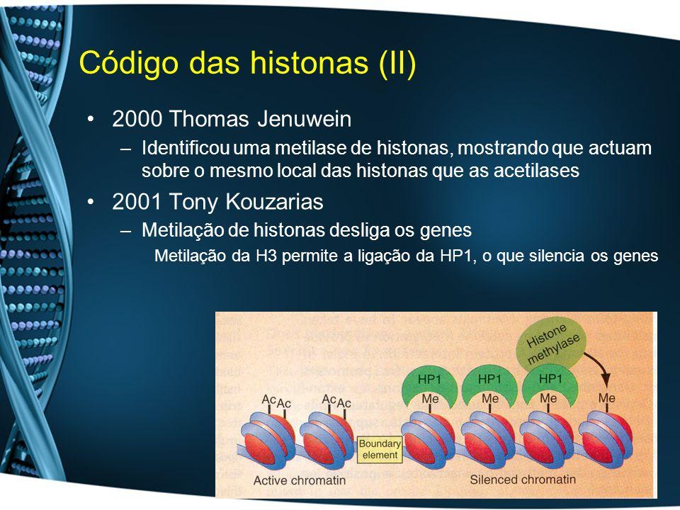Código das histonas (II) 2000 Thomas Jenuwein –Identificou uma metilase de histonas, mostrando que actuam sobre o mesmo local das histonas que as acetilases 2001 Tony Kouzarias –Metilação de histonas desliga os genes Metilação da H3 permite a ligação da HP1, o que silencia os genes