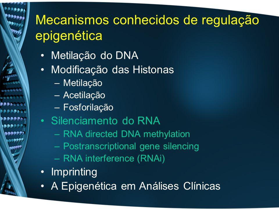 Mecanismos conhecidos de regulação epigenética Metilação do DNA Modificação das Histonas –Metilação –Acetilação –Fosforilação Silenciamento do RNA –RNA directed DNA methylation –Postranscriptional gene silencing –RNA interference (RNAi) Imprinting A Epigenética em Análises Clínicas