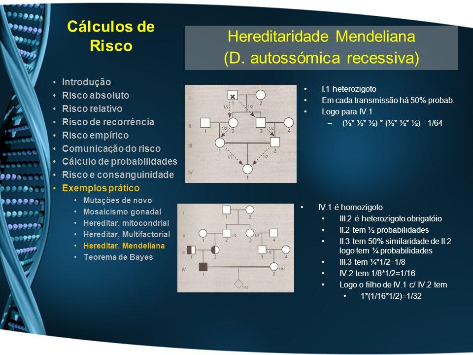Cálculos de Risco I.1 heterozigoto Em cada transmissão há 50% probab. Logo para IV.1 –(½* ½* ½) * (½* ½* ½)= 1/64 Introdução Risco absoluto Risco rela