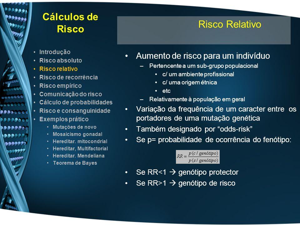 Cálculos de Risco Aumento de risco para um indivíduo –Pertencente a um sub-grupo populacional c/ um ambiente profissional c/ uma origem étnica etc –Re