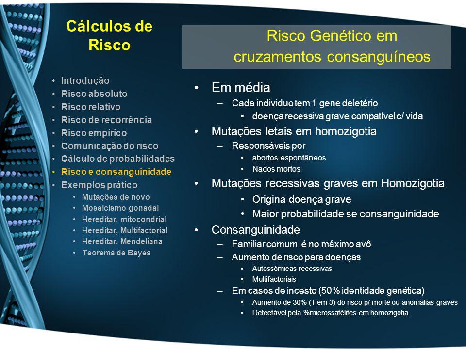 Cálculos de Risco Em média –Cada individuo tem 1 gene deletério doença recessiva grave compatível c/ vida Mutações letais em homozigotia –Responsáveis