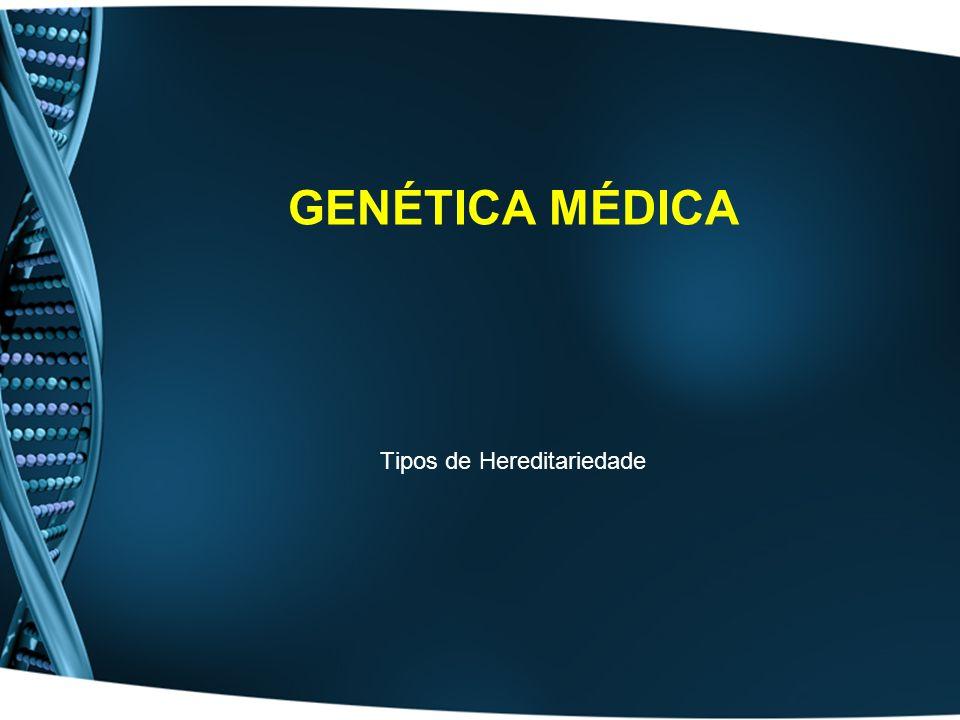 Hereditariedade Mendeliana –Apenas 397 genes ligados ao Y (SRY,MIC2) Alguns também presentes no X (genes pseudo-autossómicos) –Só presente em Homens –Afectados transmitem a todos os filhos –Em casos normais nenhuma filha afectada Ausência de recombinação anormal Ausência de disjunção cromossómica Autossómica Dominante Autossómica Recessiva Recessiva ligadas ao X Dominante ligadas ao X Hered.