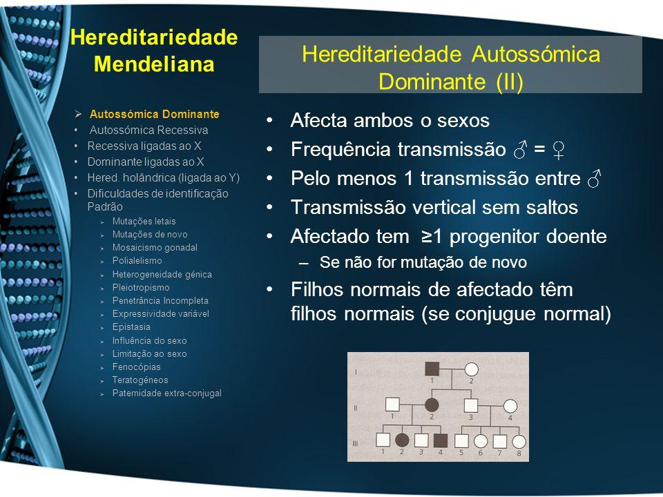Hereditariedade Mendeliana Afecta ambos o sexos Frequência transmissão = Pelo menos 1 transmissão entre Transmissão vertical sem saltos Afectado tem 1