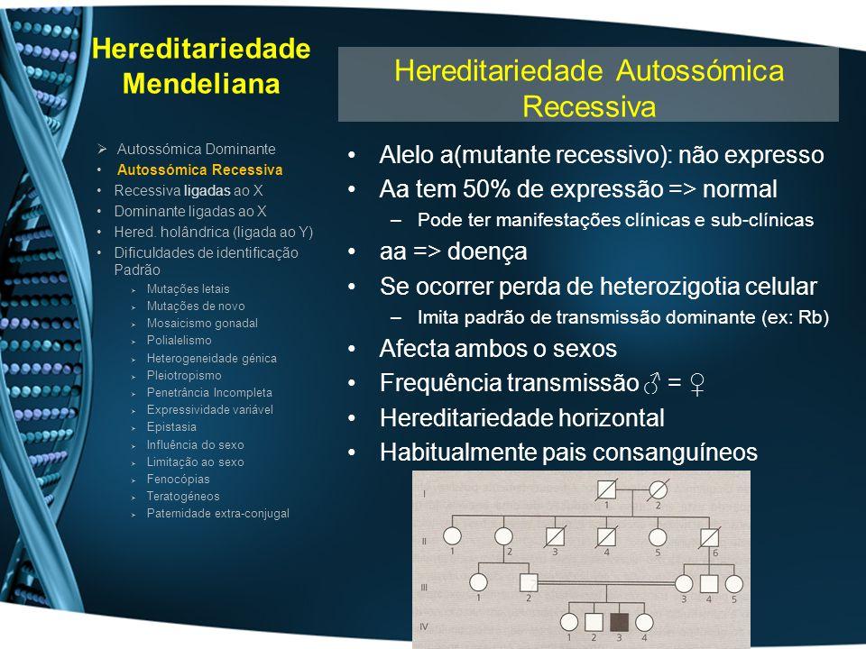 Hereditariedade Mendeliana Alelo a(mutante recessivo): não expresso Aa tem 50% de expressão => normal –Pode ter manifestações clínicas e sub-clínicas