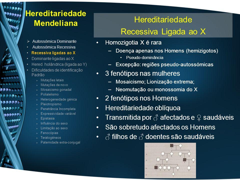 Hereditariedade Mendeliana Homozigotia X é rara –Doença apenas nos Homens (hemizigotos) Pseudo-dominância –Excepção: regiões pseudo-autossómicas 3 fen
