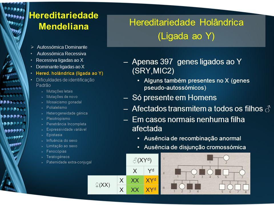 Hereditariedade Mendeliana –Apenas 397 genes ligados ao Y (SRY,MIC2) Alguns também presentes no X (genes pseudo-autossómicos) –Só presente em Homens –