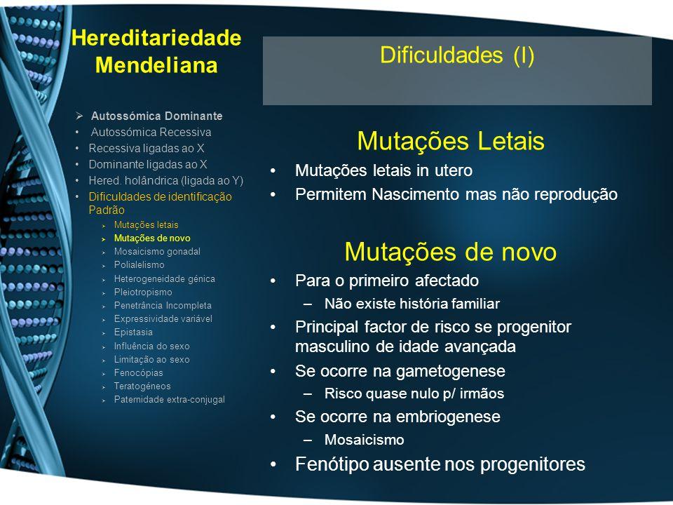 Hereditariedade Mendeliana Mutações Letais Mutações letais in utero Permitem Nascimento mas não reprodução Mutações de novo Para o primeiro afectado –