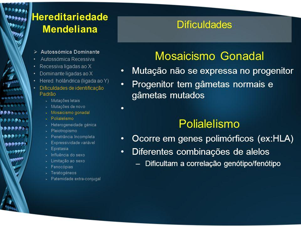 Hereditariedade Mendeliana Mosaicismo Gonadal Mutação não se expressa no progenitor Progenitor tem gâmetas normais e gâmetas mutados Polialelismo Ocor