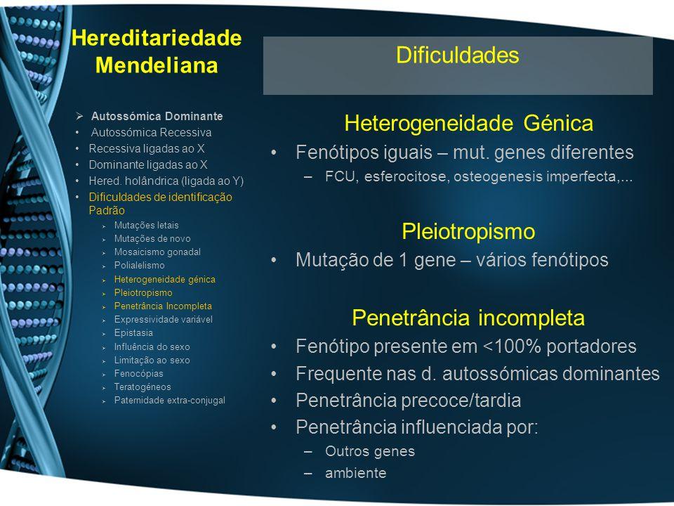 Hereditariedade Mendeliana Heterogeneidade Génica Fenótipos iguais – mut. genes diferentes –FCU, esferocitose, osteogenesis imperfecta,... Pleiotropis