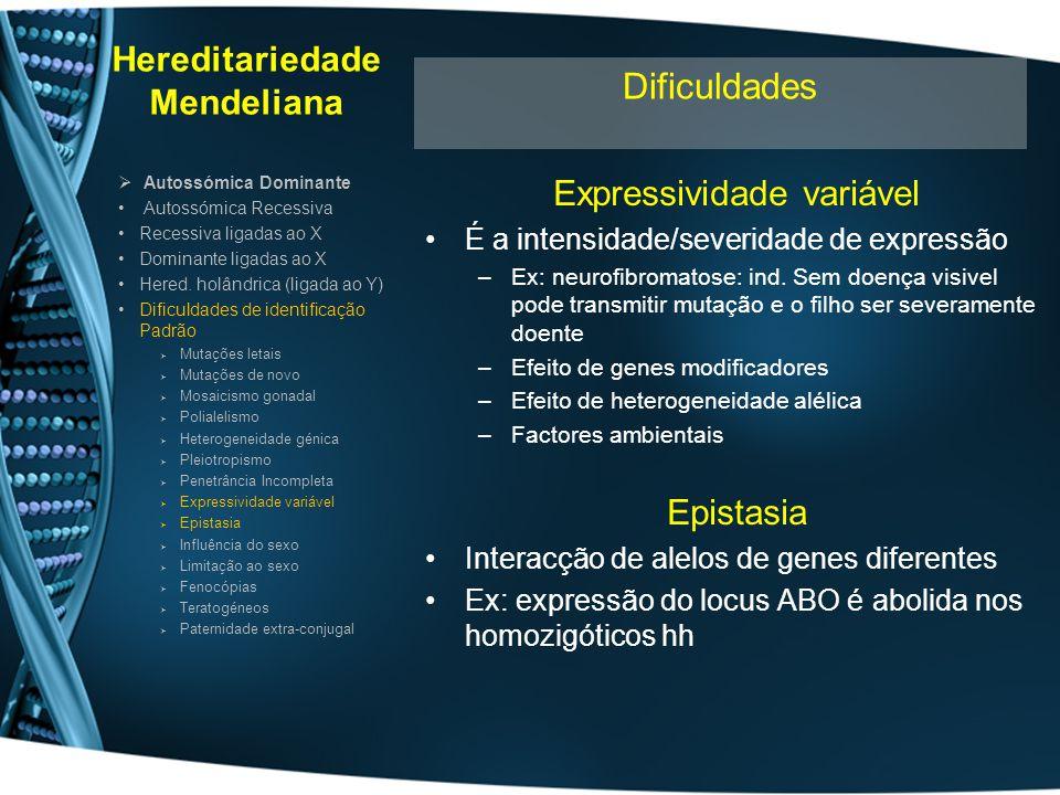 Hereditariedade Mendeliana Expressividade variável É a intensidade/severidade de expressão –Ex: neurofibromatose: ind. Sem doença visivel pode transmi