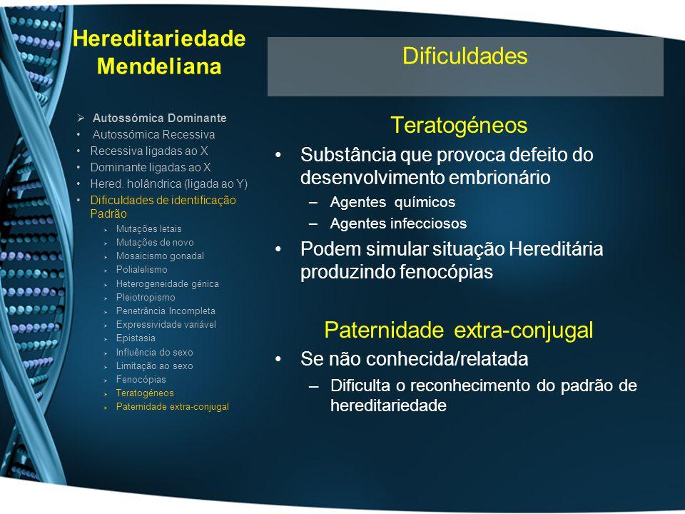 Hereditariedade Mendeliana Teratogéneos Substância que provoca defeito do desenvolvimento embrionário –Agentes químicos –Agentes infecciosos Podem sim