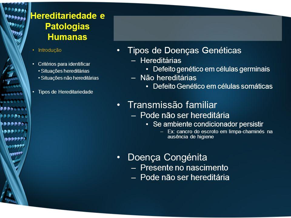 Hereditariedade e Patologias Humanas Tipos de Doenças Genéticas –Hereditárias Defeito genético em células germinais –Não hereditárias Defeito Genético