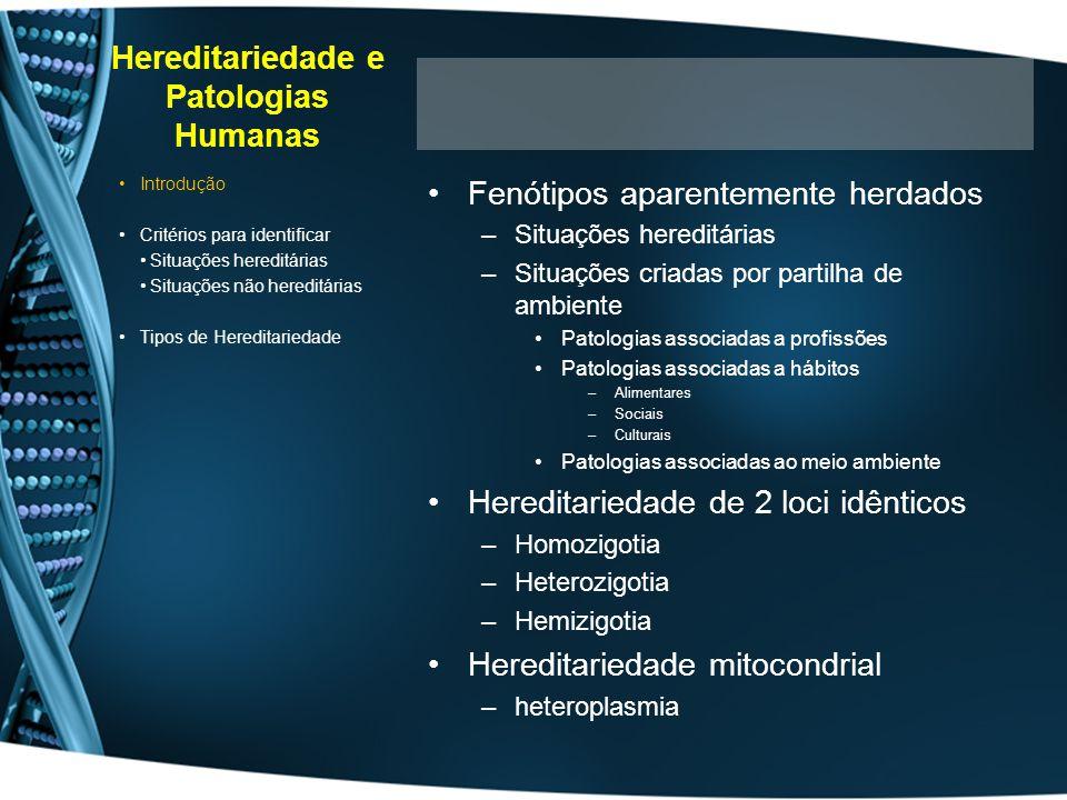 Hereditariedade e Patologias Humanas Fenótipos aparentemente herdados –Situações hereditárias –Situações criadas por partilha de ambiente Patologias a
