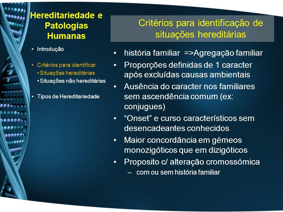 Hereditariedade e Patologias Humanas história familiar =>Agregação familiar Proporções definidas de 1 caracter após excluídas causas ambientais Ausênc