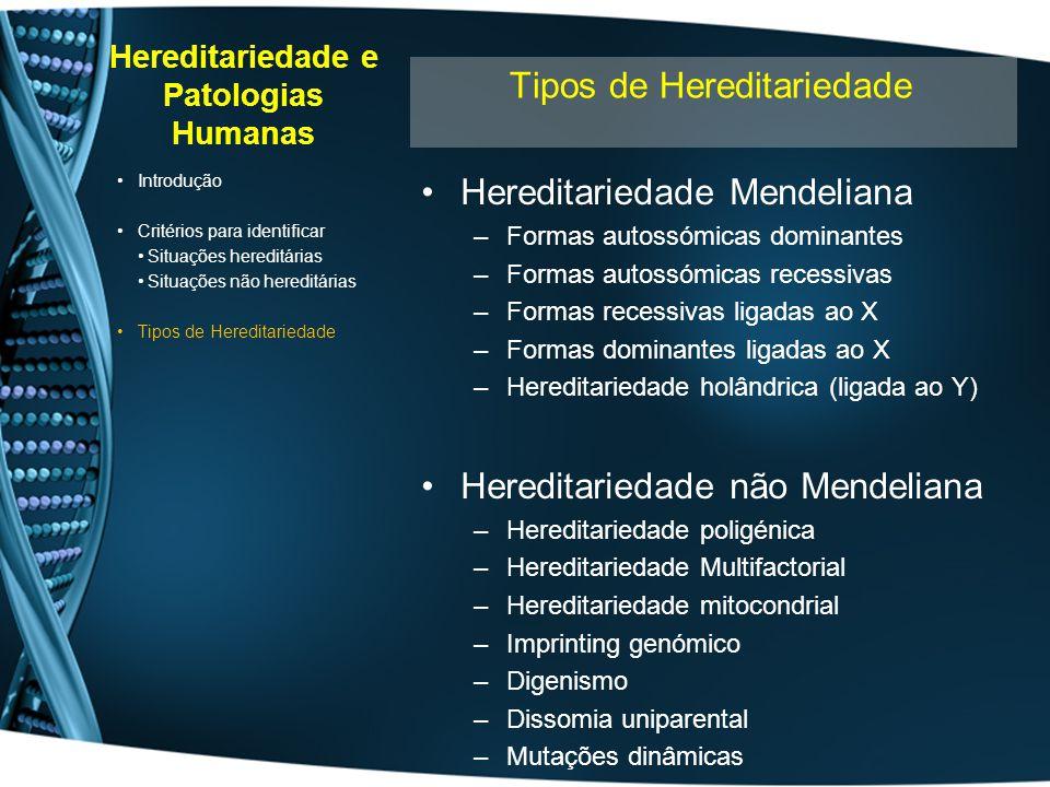 Hereditariedade e Patologias Humanas Hereditariedade Mendeliana –Formas autossómicas dominantes –Formas autossómicas recessivas –Formas recessivas lig