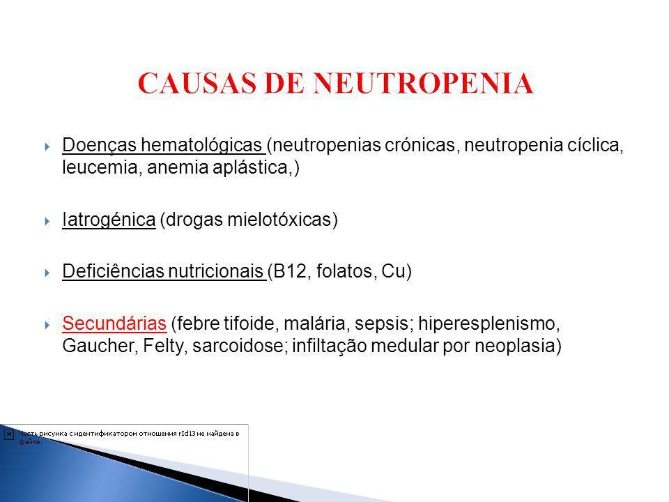 Doenças hematológicas (neutropenias crónicas, neutropenia cíclica, leucemia, anemia aplástica,) Iatrogénica (drogas mielotóxicas) Deficiências nutrici