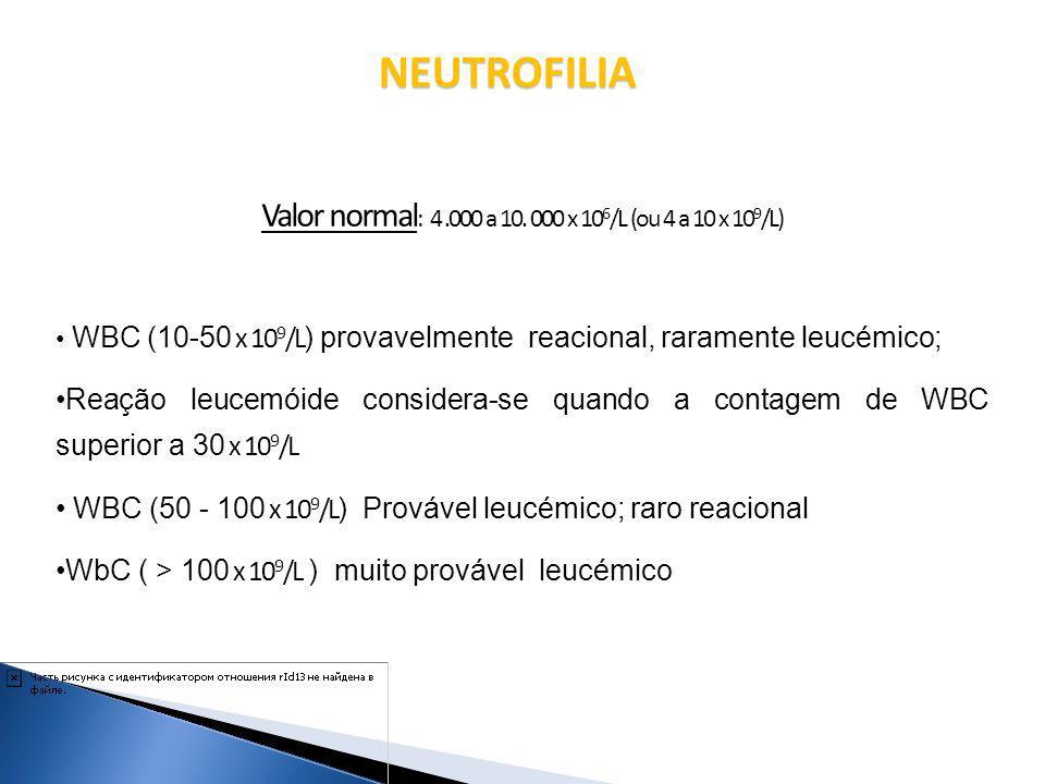 Valor normal : 4.000 a 10. 000 x 10 6 /L (ou 4 a 10 x 10 9 /L) WBC (10-50 x 10 9 /L ) provavelmente reacional, raramente leucémico; Reação leucemóide