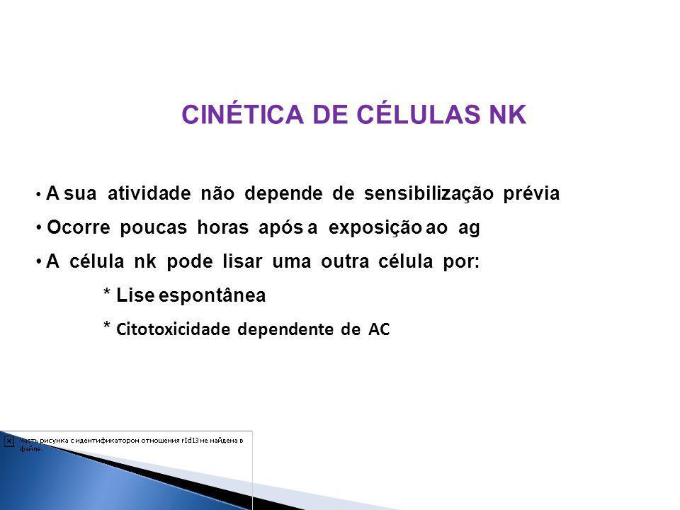 CINÉTICA DE CÉLULAS NK A sua atividade não depende de sensibilização prévia Ocorre poucas horas após a exposição ao ag A célula nk pode lisar uma outr