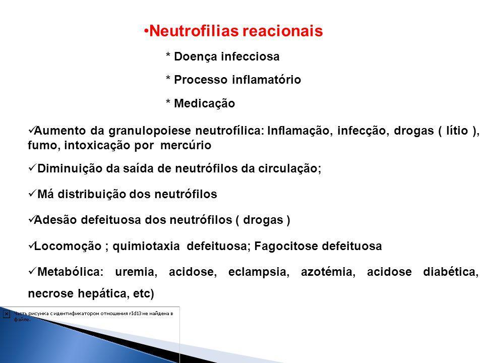 Neutrofilias reacionais * Doença infecciosa * Processo inflamatório * Medicação Aumento da granulopoiese neutrofílica: Inflamação, infecção, drogas (