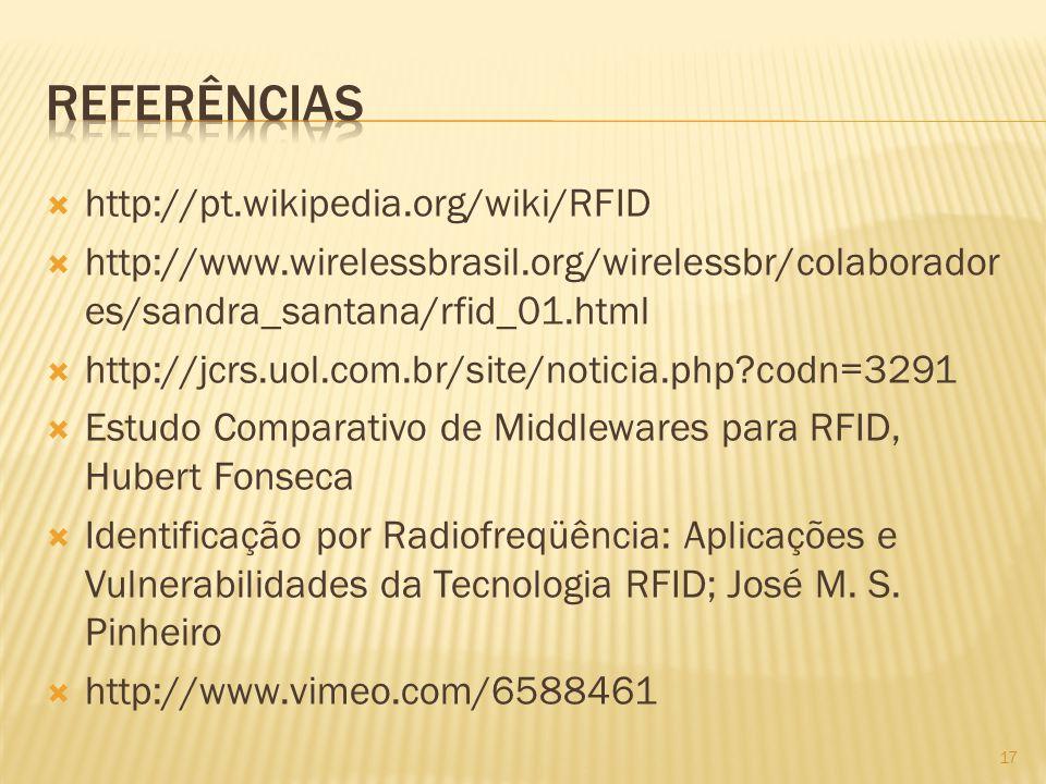 http://pt.wikipedia.org/wiki/RFID http://www.wirelessbrasil.org/wirelessbr/colaborador es/sandra_santana/rfid_01.html http://jcrs.uol.com.br/site/noti