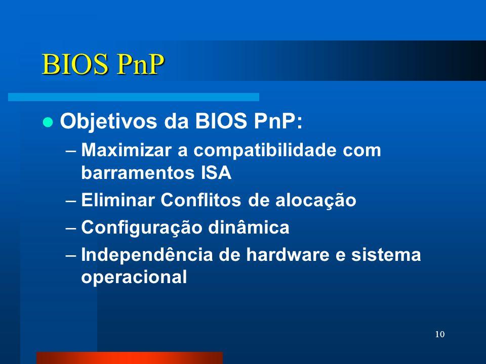 10 BIOS PnP Objetivos da BIOS PnP: –Maximizar a compatibilidade com barramentos ISA –Eliminar Conflitos de alocação –Configuração dinâmica –Independência de hardware e sistema operacional