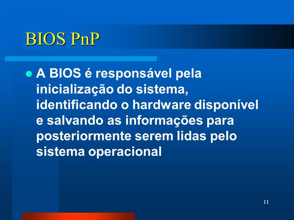 11 BIOS PnP A BIOS é responsável pela inicialização do sistema, identificando o hardware disponível e salvando as informações para posteriormente serem lidas pelo sistema operacional