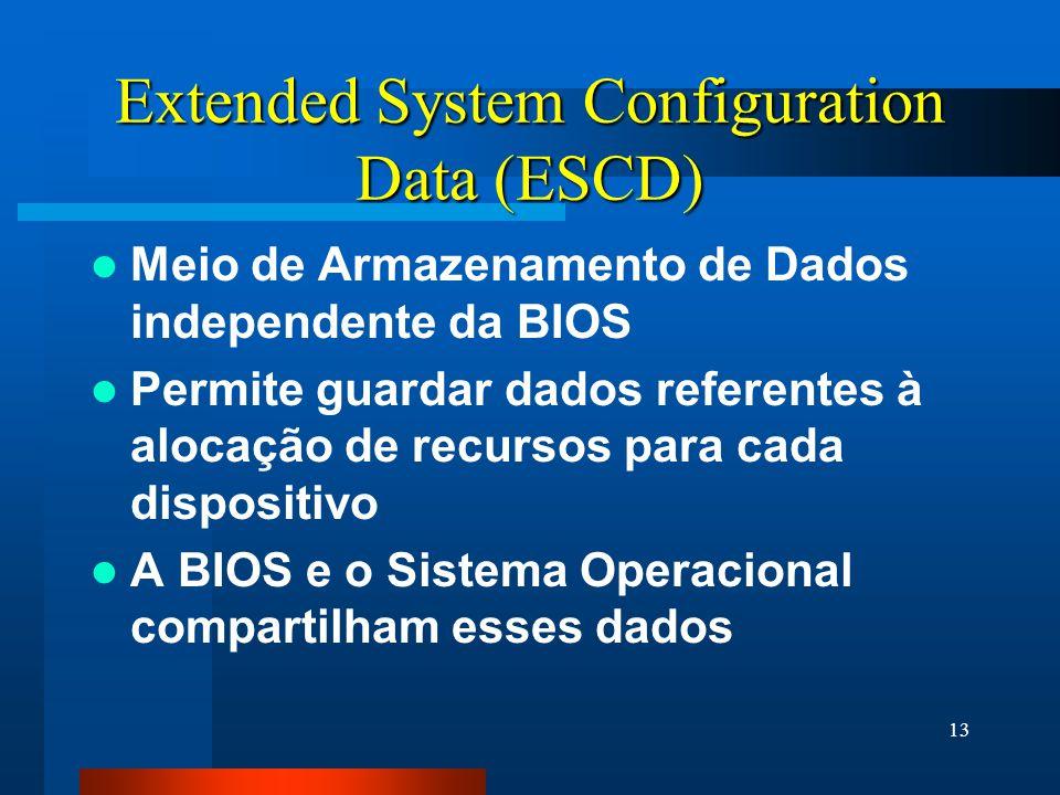13 Extended System Configuration Data (ESCD) Meio de Armazenamento de Dados independente da BIOS Permite guardar dados referentes à alocação de recursos para cada dispositivo A BIOS e o Sistema Operacional compartilham esses dados