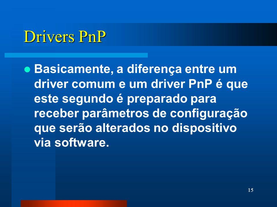 15 Drivers PnP Basicamente, a diferença entre um driver comum e um driver PnP é que este segundo é preparado para receber parâmetros de configuração que serão alterados no dispositivo via software.