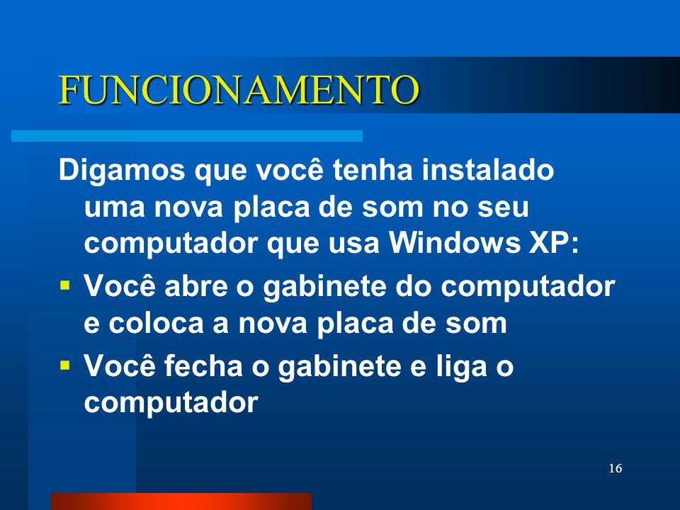 16 FUNCIONAMENTO Digamos que você tenha instalado uma nova placa de som no seu computador que usa Windows XP: Você abre o gabinete do computador e coloca a nova placa de som Você fecha o gabinete e liga o computador