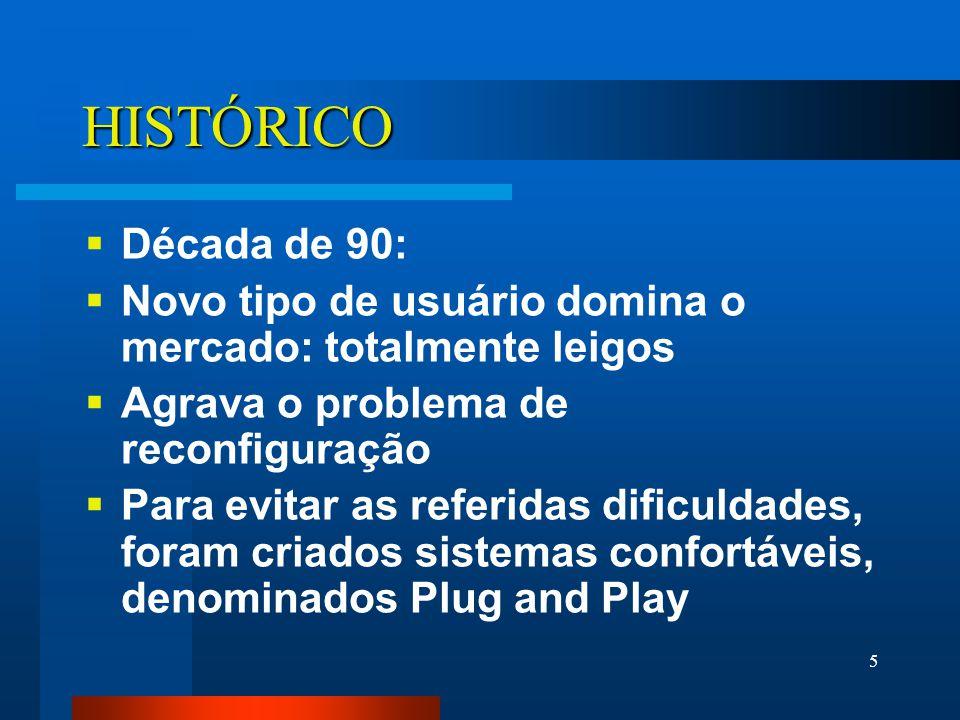 5 HISTÓRICO Década de 90: Novo tipo de usuário domina o mercado: totalmente leigos Agrava o problema de reconfiguração Para evitar as referidas dificuldades, foram criados sistemas confortáveis, denominados Plug and Play