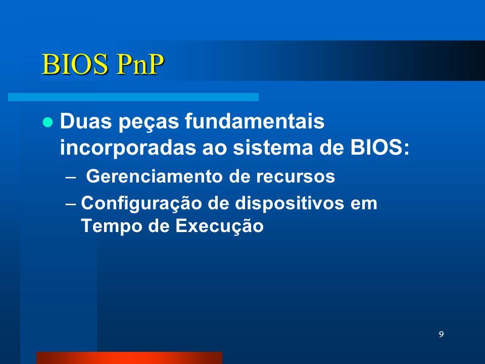 9 BIOS PnP Duas peças fundamentais incorporadas ao sistema de BIOS: – Gerenciamento de recursos –Configuração de dispositivos em Tempo de Execução