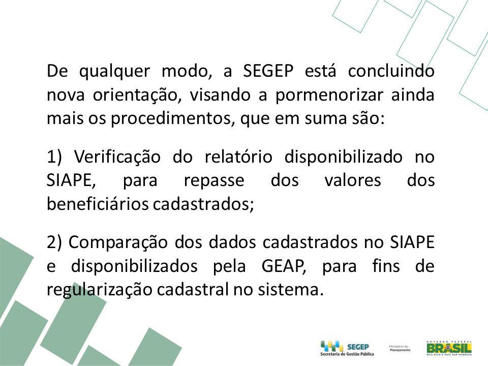 De qualquer modo, a SEGEP está concluindo nova orientação, visando a pormenorizar ainda mais os procedimentos, que em suma são: 1) Verificação do relatório disponibilizado no SIAPE, para repasse dos valores dos beneficiários cadastrados; 2) Comparação dos dados cadastrados no SIAPE e disponibilizados pela GEAP, para fins de regularização cadastral no sistema.