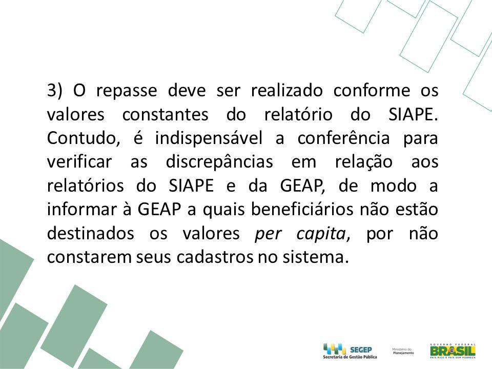 3) O repasse deve ser realizado conforme os valores constantes do relatório do SIAPE. Contudo, é indispensável a conferência para verificar as discrep