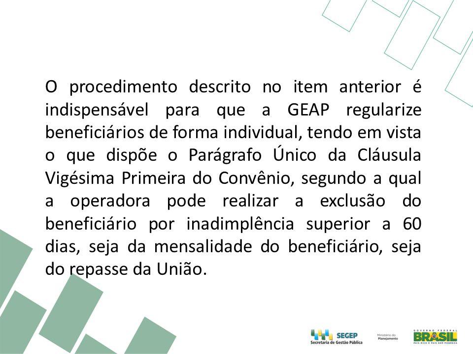 O procedimento descrito no item anterior é indispensável para que a GEAP regularize beneficiários de forma individual, tendo em vista o que dispõe o P