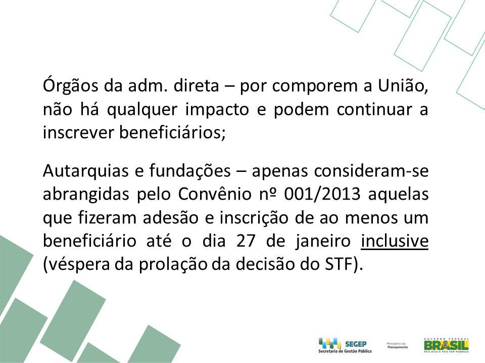Órgãos da adm. direta – por comporem a União, não há qualquer impacto e podem continuar a inscrever beneficiários; Autarquias e fundações – apenas con