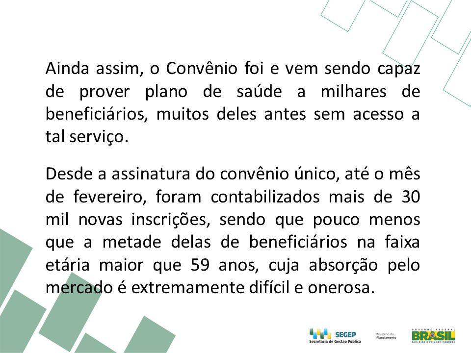 Ainda assim, o Convênio foi e vem sendo capaz de prover plano de saúde a milhares de beneficiários, muitos deles antes sem acesso a tal serviço. Desde