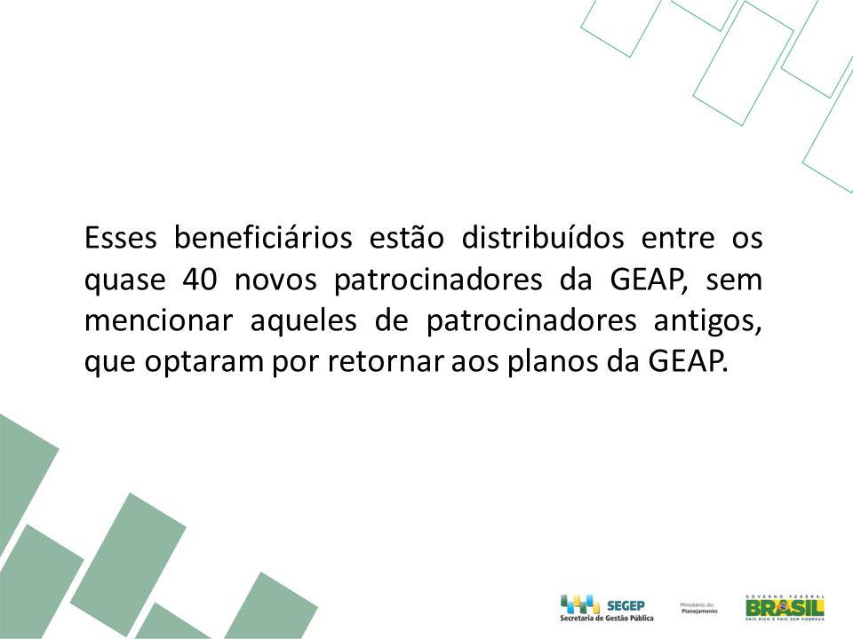 Esses beneficiários estão distribuídos entre os quase 40 novos patrocinadores da GEAP, sem mencionar aqueles de patrocinadores antigos, que optaram por retornar aos planos da GEAP.