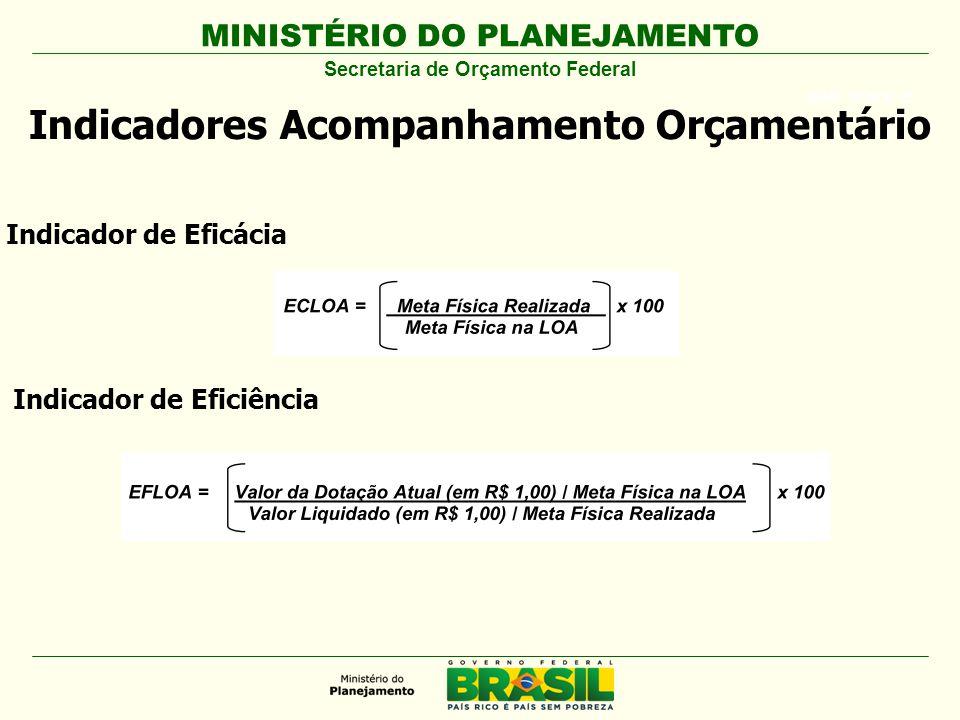 MINISTÉRIO DO PLANEJAMENTO ARIAL BLACK 23 Indicadores Acompanhamento Orçamentário Secretaria de Orçamento Federal Indicador de Eficácia Indicador de Eficiência