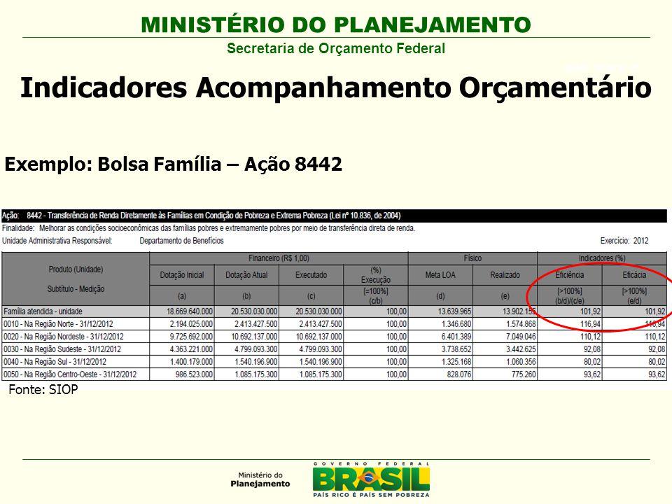 MINISTÉRIO DO PLANEJAMENTO ARIAL BLACK 23 Indicadores Acompanhamento Orçamentário Secretaria de Orçamento Federal Exemplo: Bolsa Família – Ação 8442 Fonte: SIOP