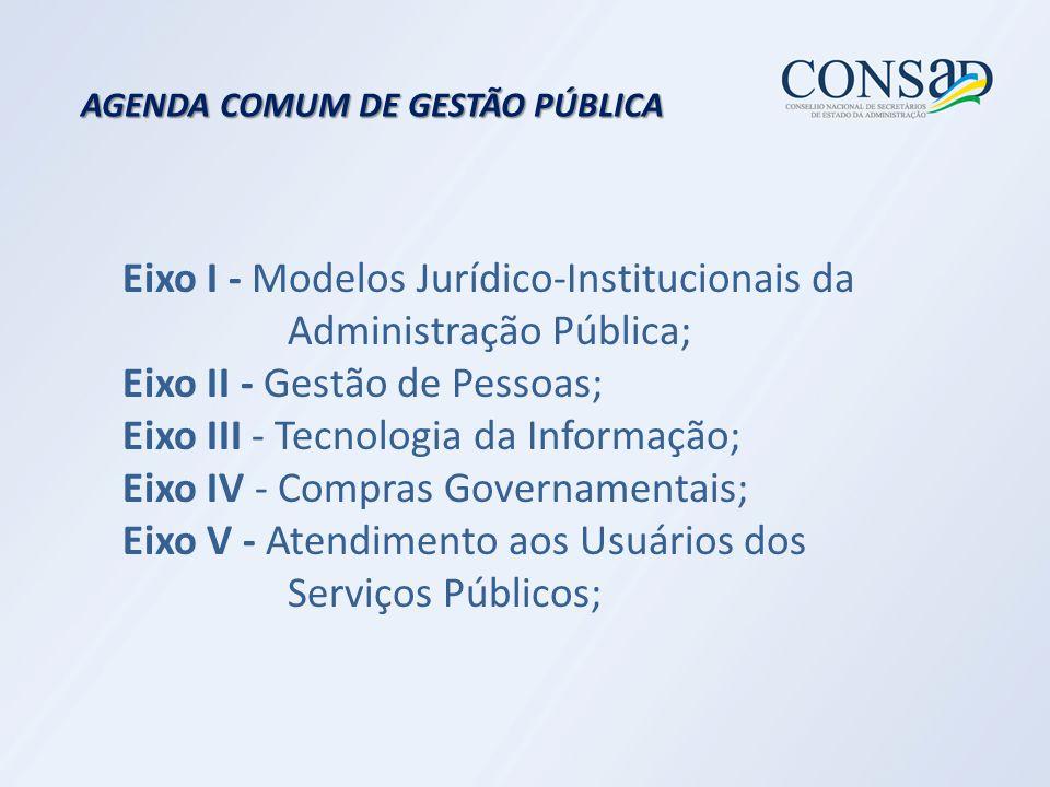 AGENDA COMUM DE GESTÃO PÚBLICA Eixo I - Modelos Jurídico-Institucionais da Administração Pública; Eixo II - Gestão de Pessoas; Eixo III - Tecnologia da Informação; Eixo IV - Compras Governamentais; Eixo V - Atendimento aos Usuários dos Serviços Públicos;
