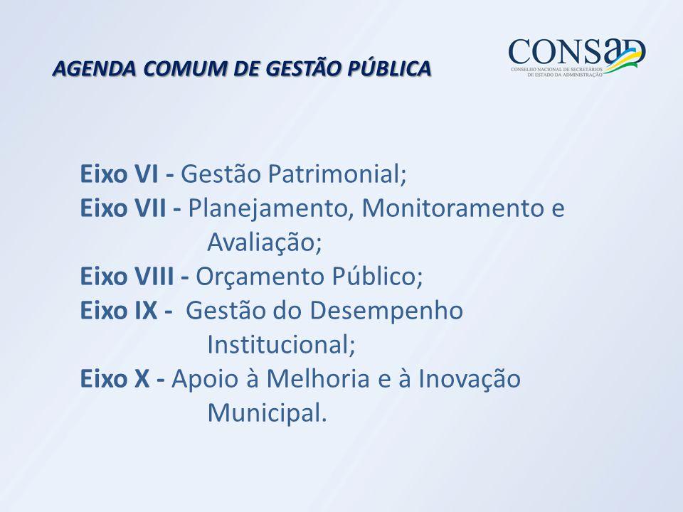 Eixo VI - Gestão Patrimonial; Eixo VII - Planejamento, Monitoramento e Avaliação; Eixo VIII - Orçamento Público; Eixo IX - Gestão do Desempenho Institucional; Eixo X - Apoio à Melhoria e à Inovação Municipal.