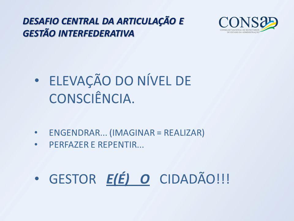 DESAFIO CENTRAL DA ARTICULAÇÃO E GESTÃO INTERFEDERATIVA ELEVAÇÃO DO NÍVEL DE CONSCIÊNCIA.