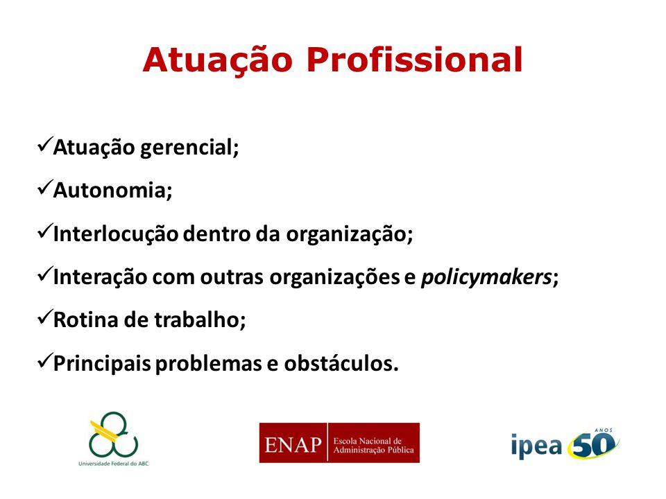Atuação gerencial; Autonomia; Interlocução dentro da organização; Interação com outras organizações e policymakers; Rotina de trabalho; Principais pro