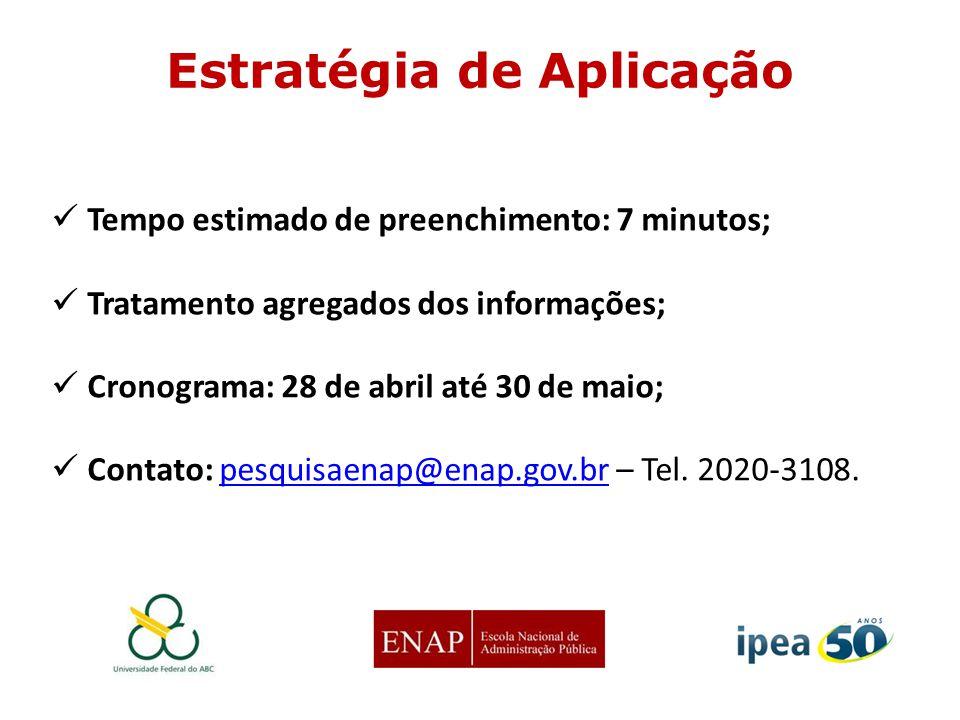 Tempo estimado de preenchimento: 7 minutos; Tratamento agregados dos informações; Cronograma: 28 de abril até 30 de maio; Contato: pesquisaenap@enap.g