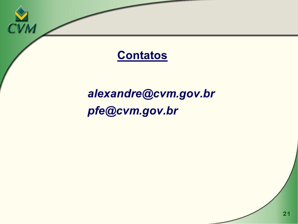 21 Contatos alexandre@cvm.gov.br pfe@cvm.gov.br