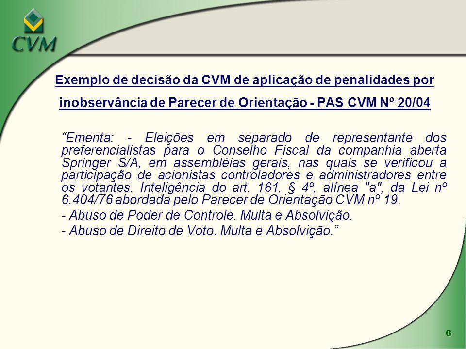 6 Exemplo de decisão da CVM de aplicação de penalidades por inobservância de Parecer de Orientação - PAS CVM Nº 20/04 Ementa: - Eleições em separado d
