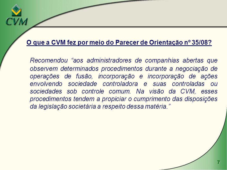 7 O que a CVM fez por meio do Parecer de Orientação nº 35/08? Recomendou aos administradores de companhias abertas que observem determinados procedime
