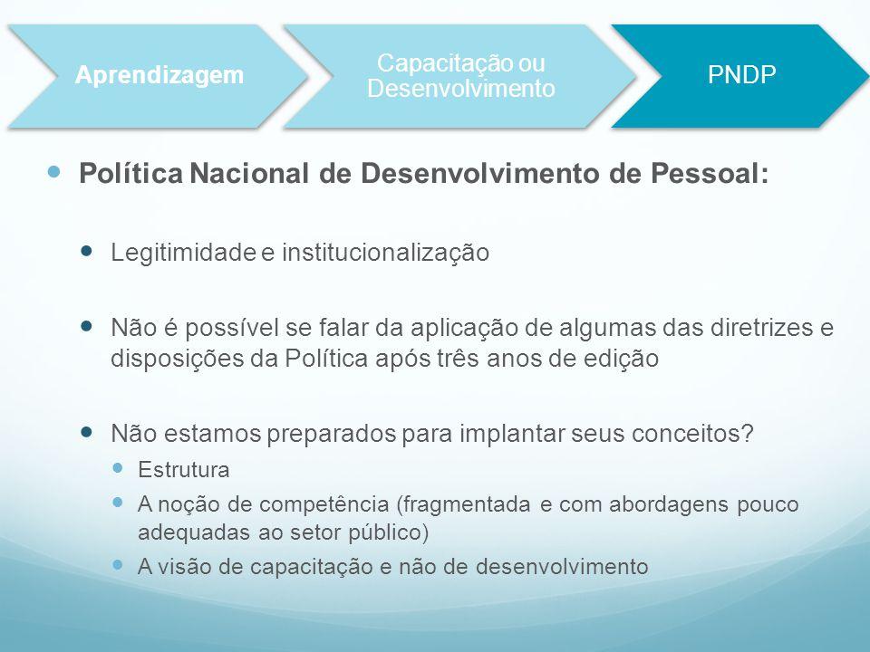 Política Nacional de Desenvolvimento de Pessoal: Legitimidade e institucionalização Não é possível se falar da aplicação de algumas das diretrizes e d
