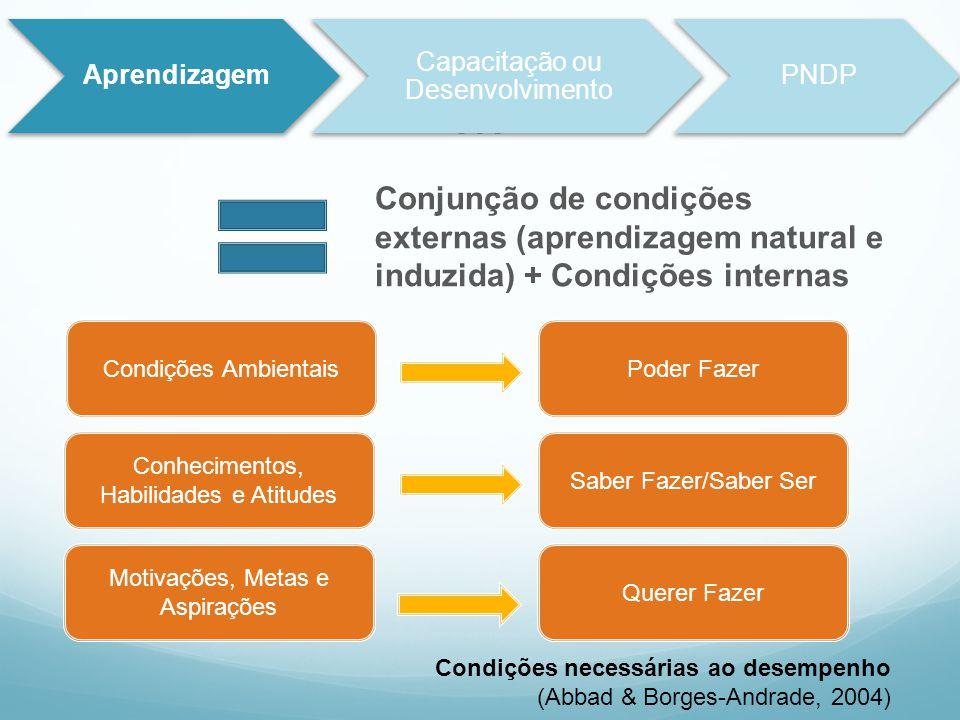 M Conjunção de condições externas (aprendizagem natural e induzida) + Condições internas Aprendizagem Capacitação ou Desenvolvimento PNDP Condições Am
